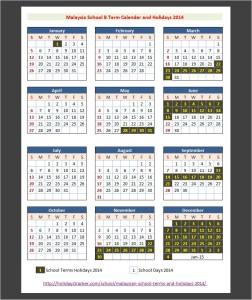 Malaysia School B Term Calender and Holidays 2014