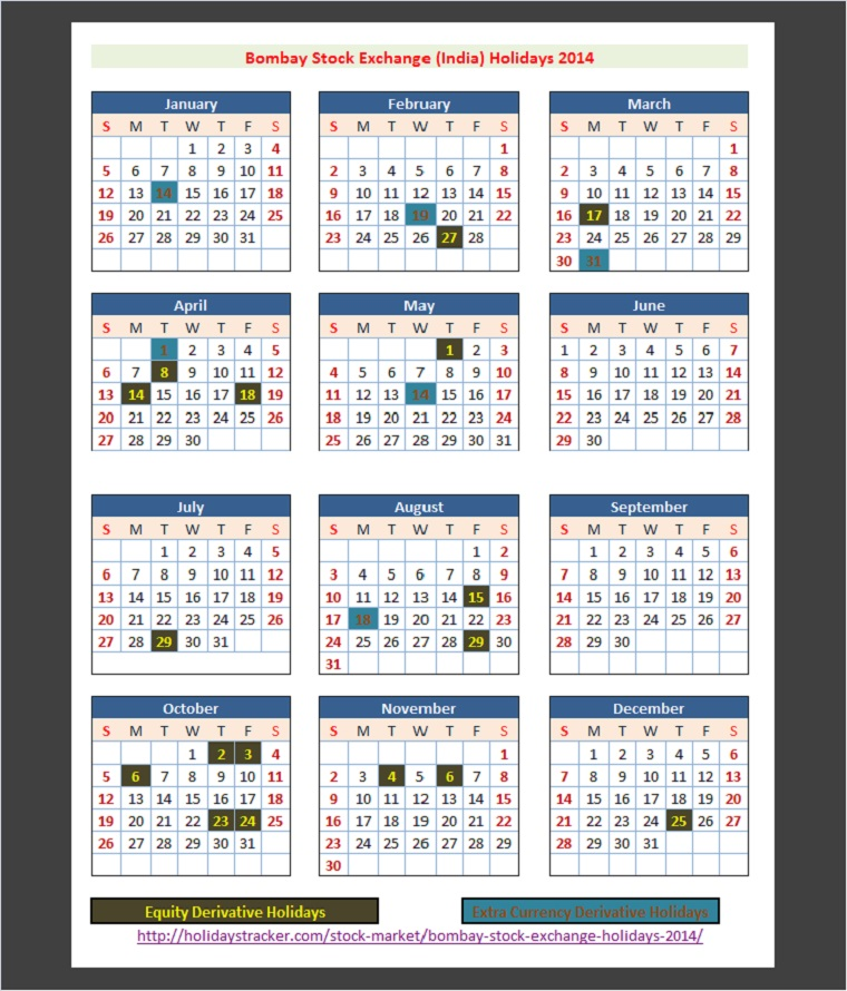 Bombay Stock Exchange (BSE) Holidays Calendar 2014