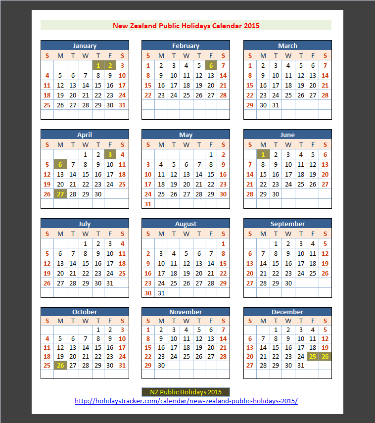 Calendar May Long Weekend : New zealand public holidays tracker