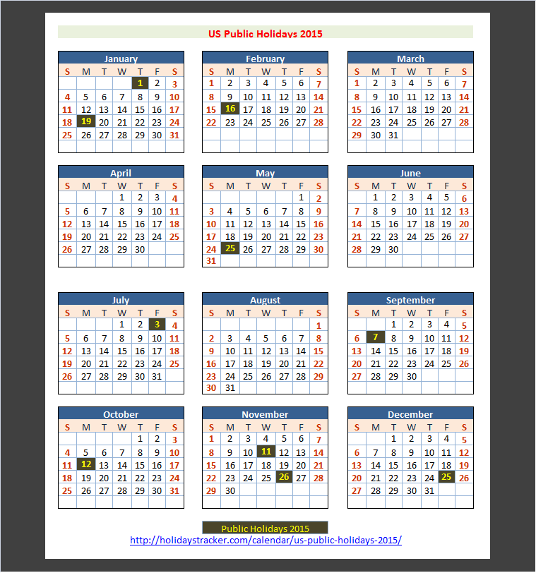 US Holidays 2015 | Holidays Tracker