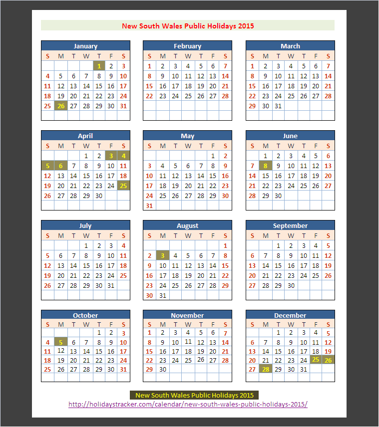 Calendar Nsw : New south wales australia public holidays