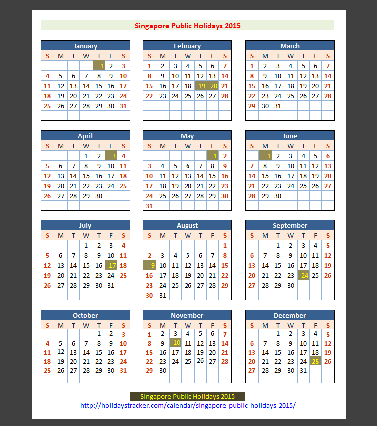 Calendar Singapore Holiday : Singapore public holidays tracker