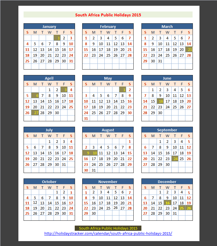 South Africa Public Holidays 2015 | Holidays Tracker