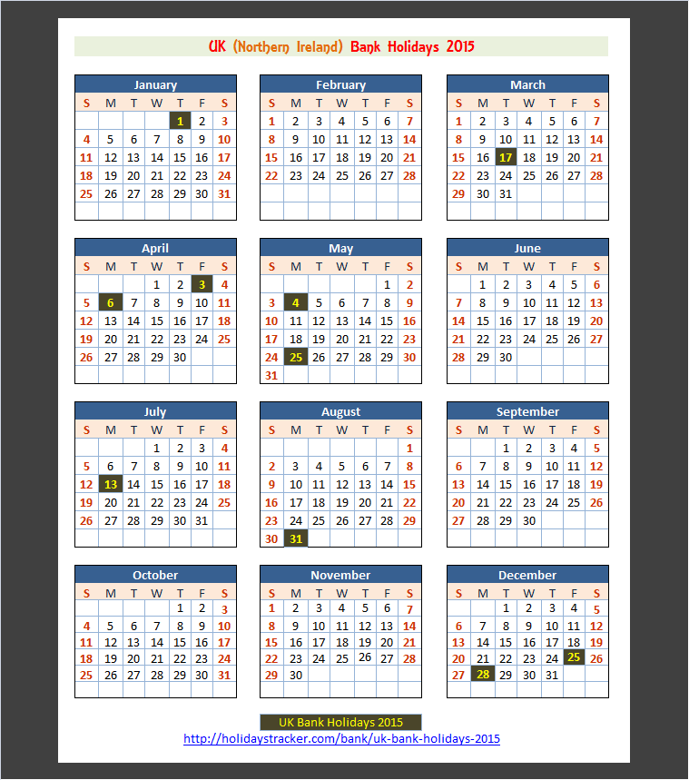 Northern ireland bank holidays calendar 2015 click to enlarge