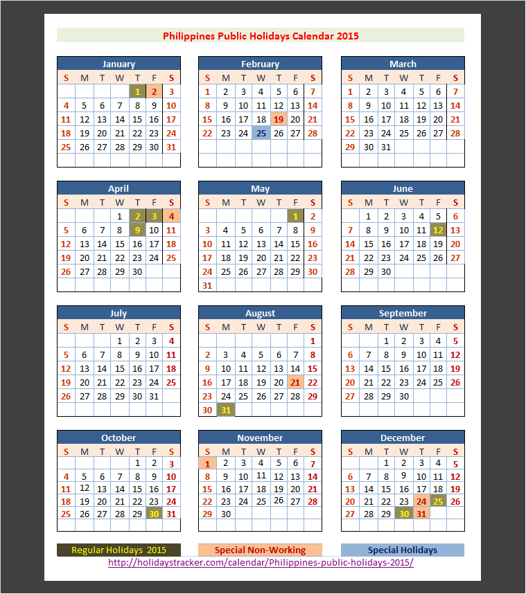 2015 Calendar Philippines With Holidays | Search Results ...