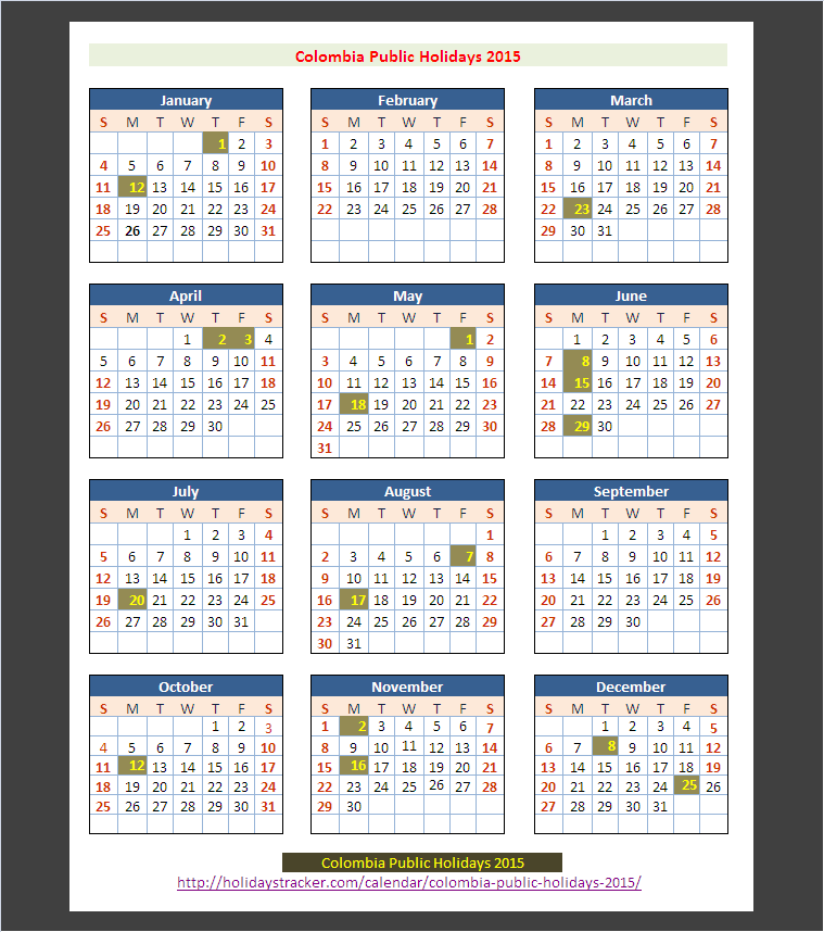 Colombia Public Holidays Calendar 2015