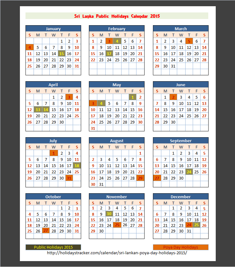 Calendar - Victoria Golf & Country Resort - Sri Lanka