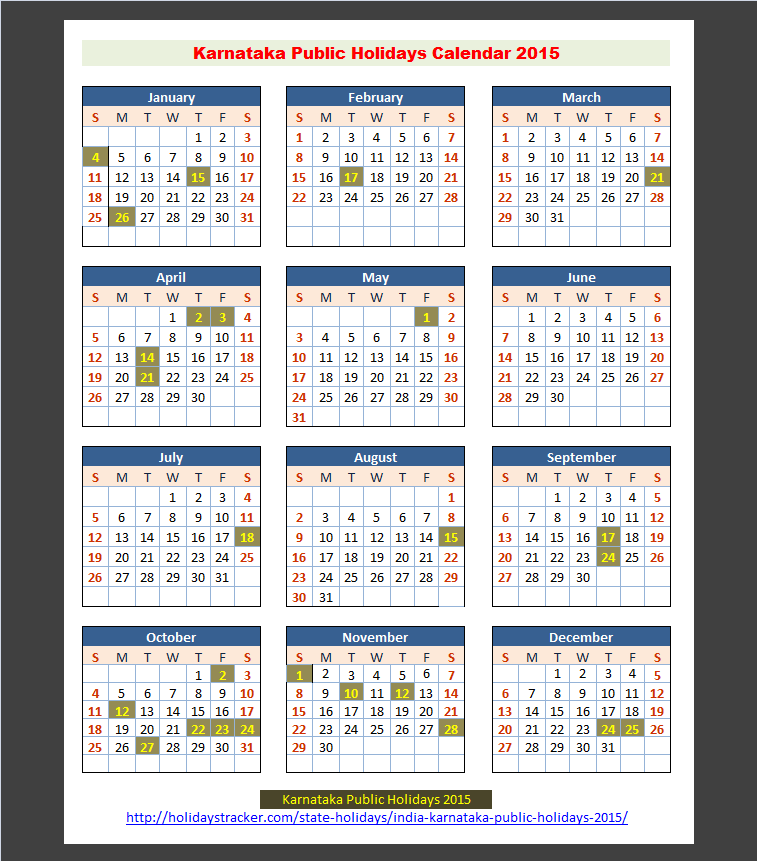 Calendar 2018 Government Holidays In Karnataka
