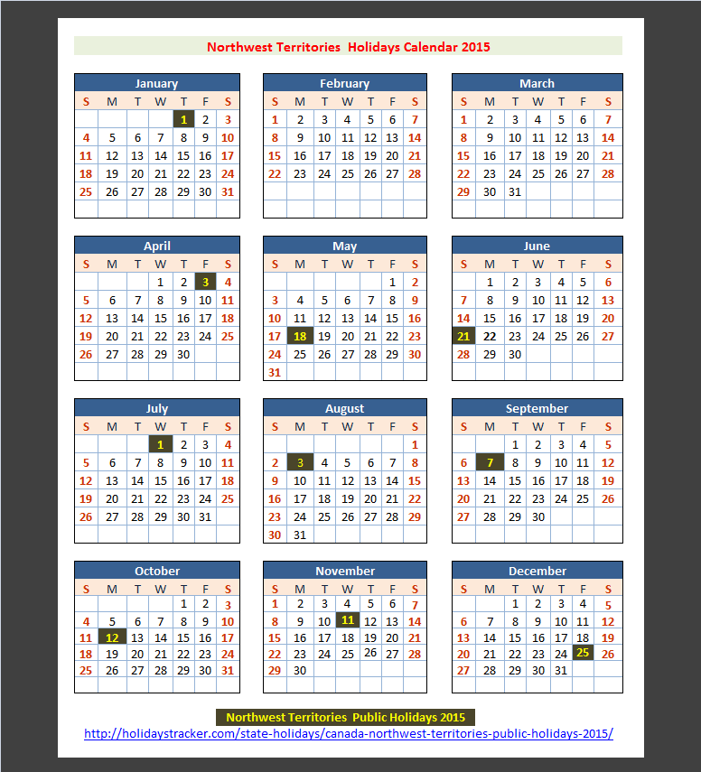 Northwest Territories (Canada) Public Holidays 2015