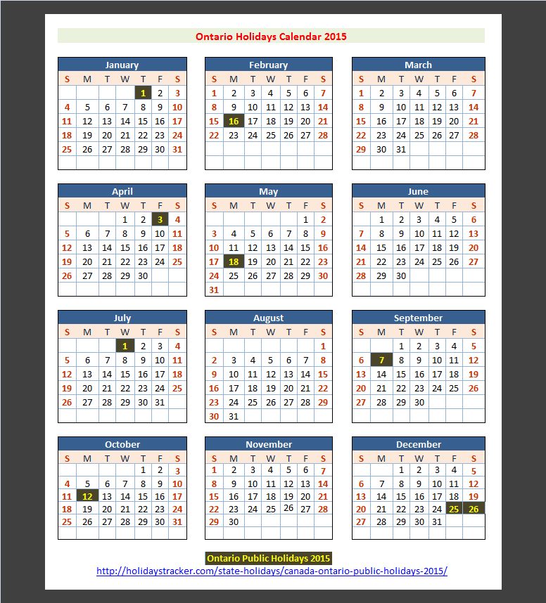 Ontario canada public holidays 2015 holidays tracker for 2015 calendar template with canadian holidays