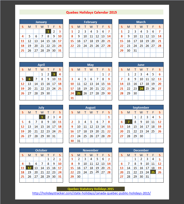 Quebec canada public holidays 2015 holidays tracker for 2015 calendar template with canadian holidays