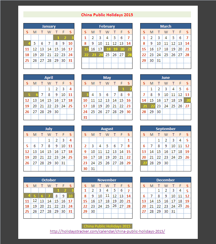 China public holidays 2015 holidays tracker