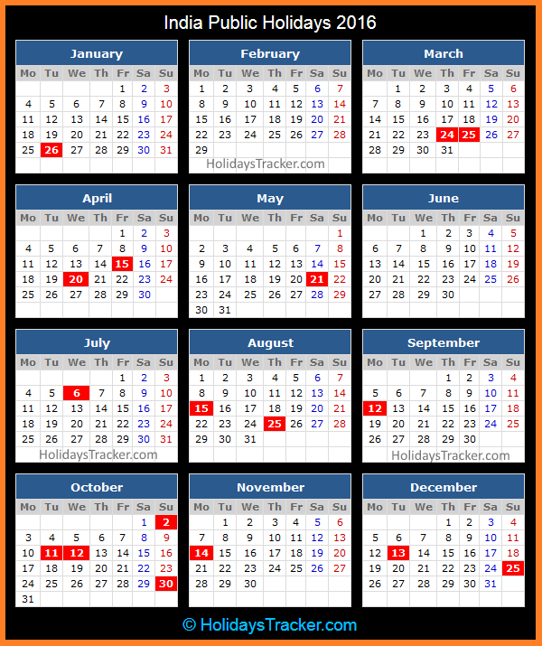 India Public Holidays 2016 | Holidays Tracker