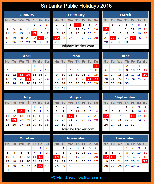 April Calendar Sri Lanka : Sri lanka public holidays tracker