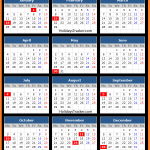 US Bank Holidays Calendar 2016