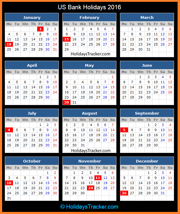 Calendar Bank Holidays : Us bank holidays tracker
