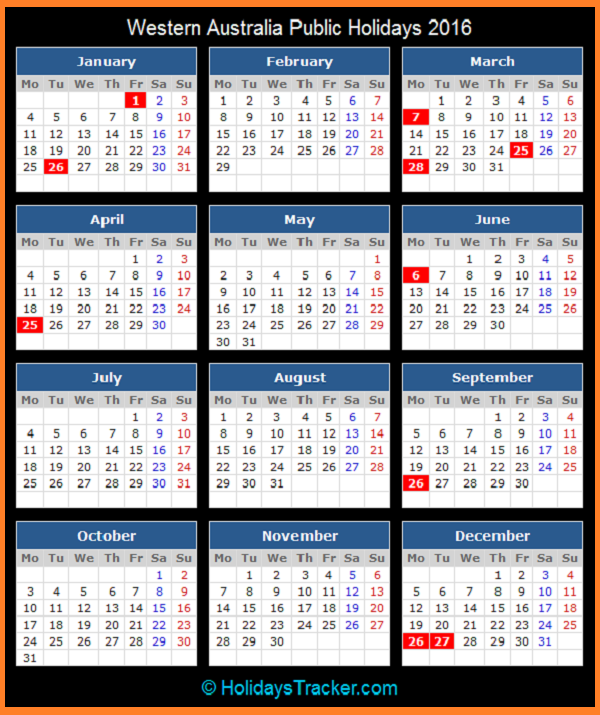 ... To View Printable Western Australia Public Holidays Calendar 2016