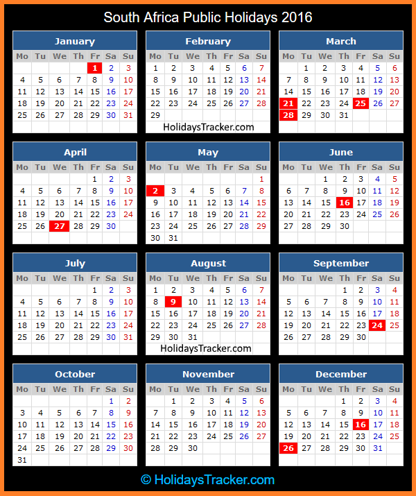 South Africa Public Holidays 2016 | Holidays Tracker