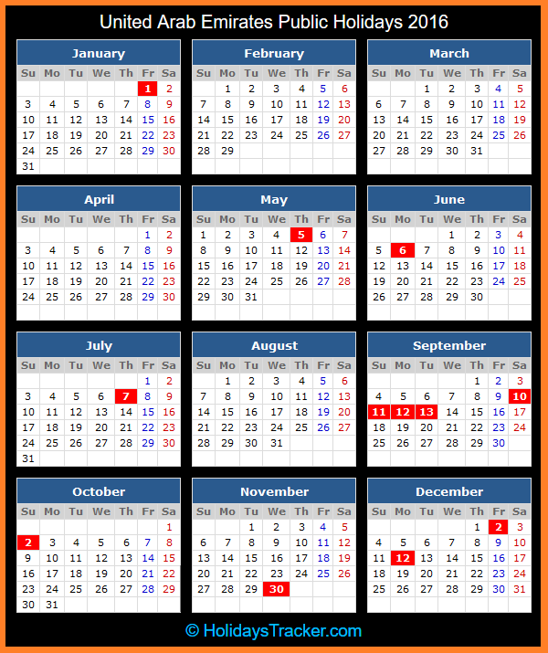 United Arab Emirates Public Holidays 2016 | Holidays Tracker