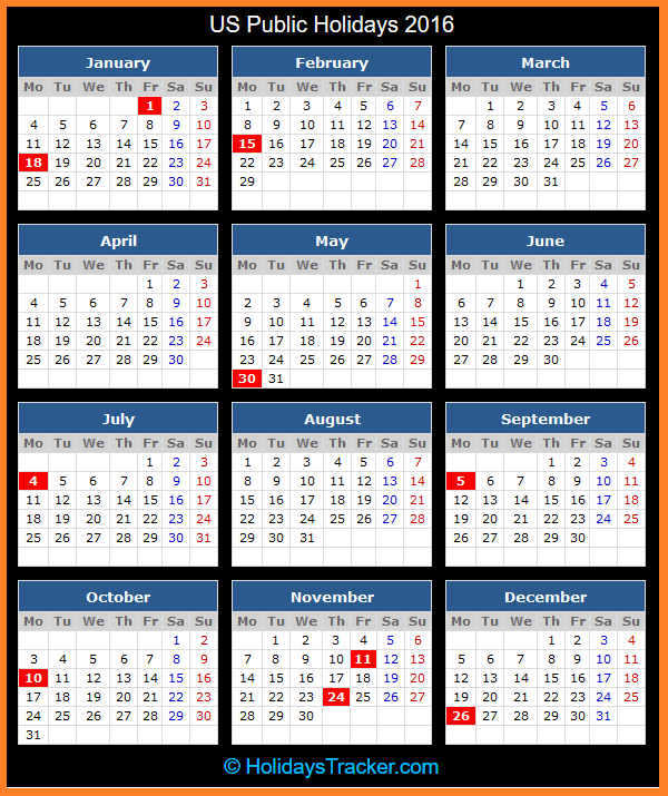 Click To View Printable US Public Holidays Calendar 2016