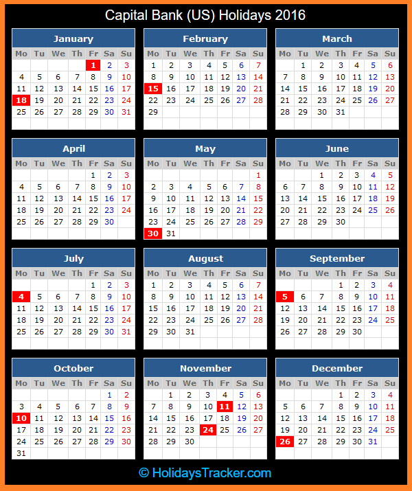 Capital Bank US Holidays Calendar 2016