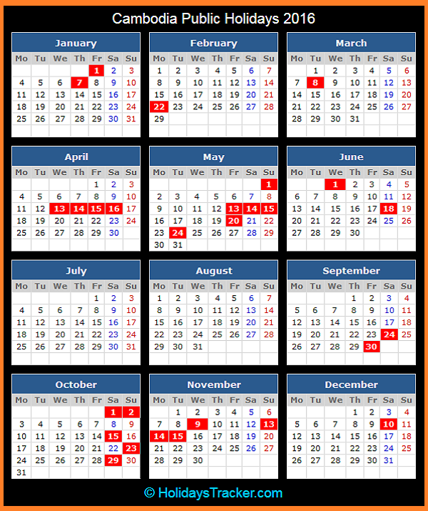 Khmer Monthly Calendar : Cambodia public holidays tracker