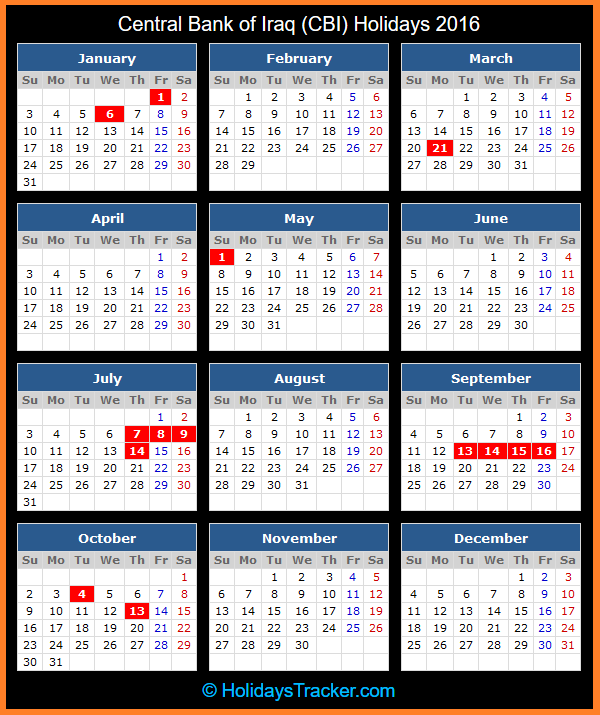 Click To View Printable Central Bank of Iraq Holidays Calendar 2016