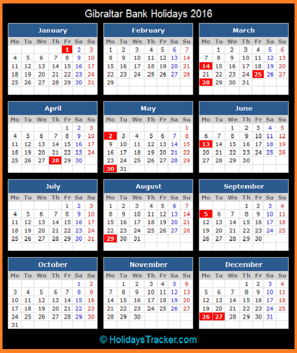 Gibraltar Public and Bank Holidays Calendar 2016