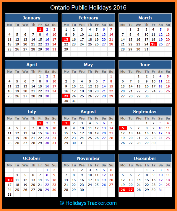 Statutory Holidays in Ontario, Canada in 2019 | Office ...