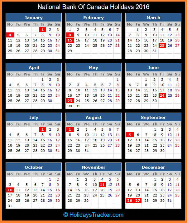Click To View Printable National Bank of Canada Holidays Calendar 2016