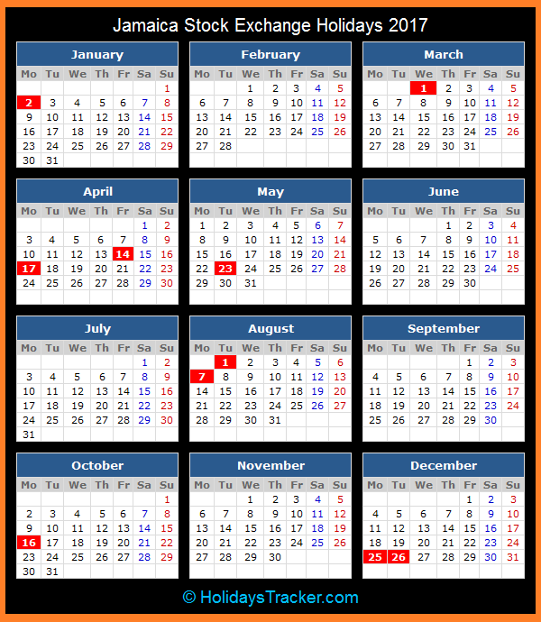 Calendar Jamaica : Jamaica stock exchange jse holidays tracker