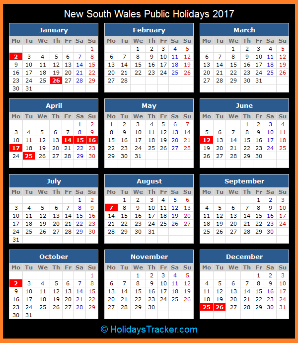 April Calendar Nsw : New south wales australia public holidays