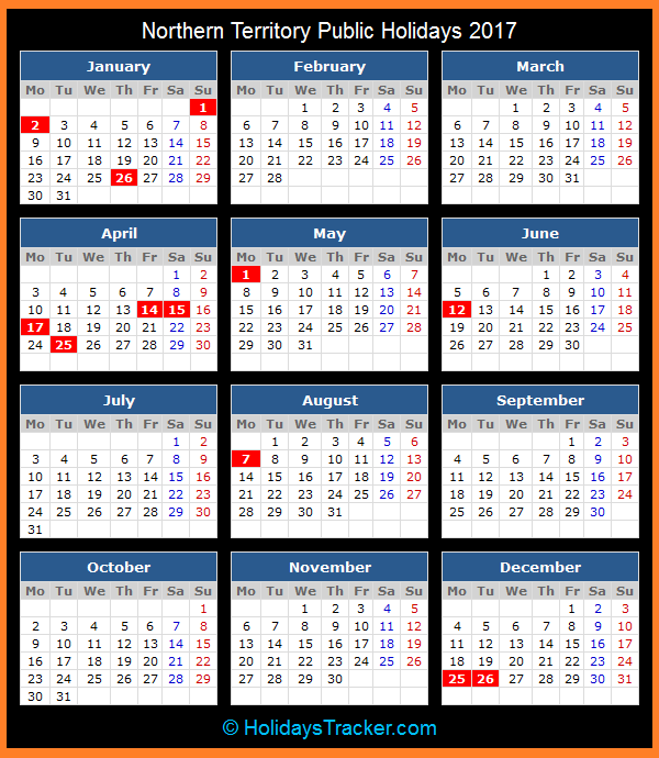 Northern Territory Public Holidays Calendar 2017