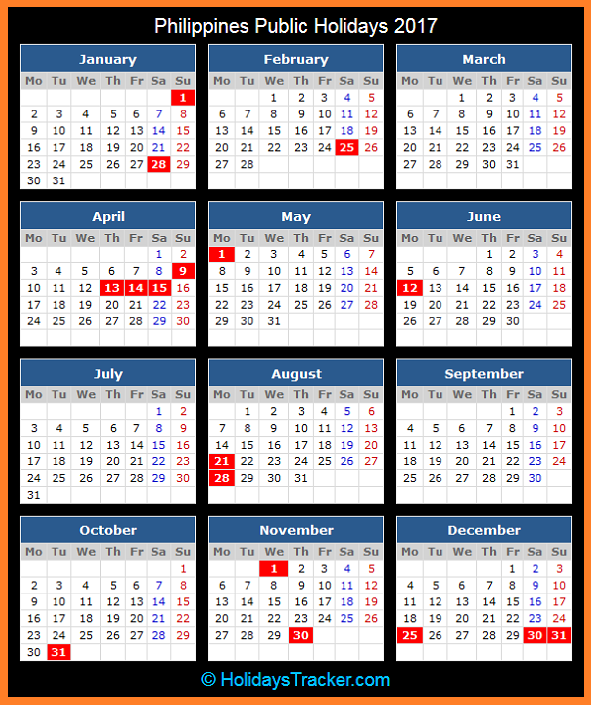 Click To View Printable Philippines Public Holidays Calendar 2017