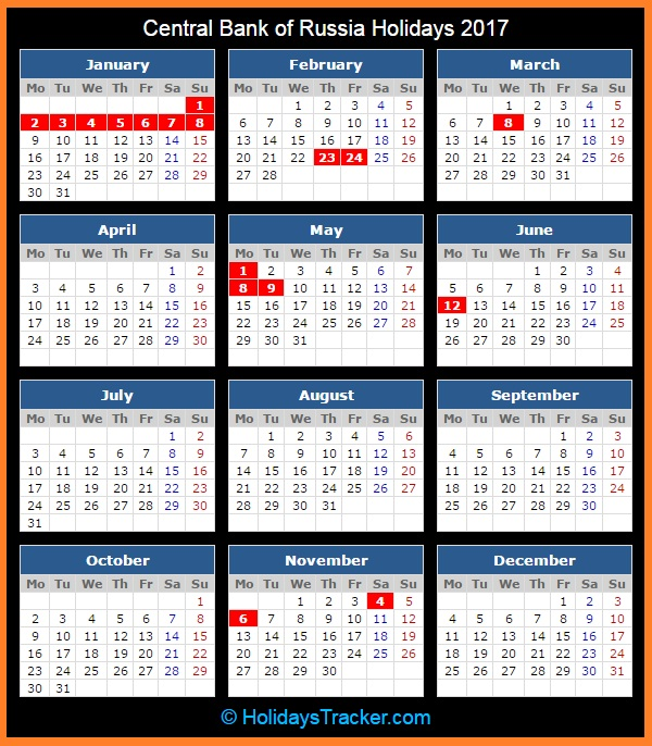 Calendar Russia : Central bank of russia holidays tracker
