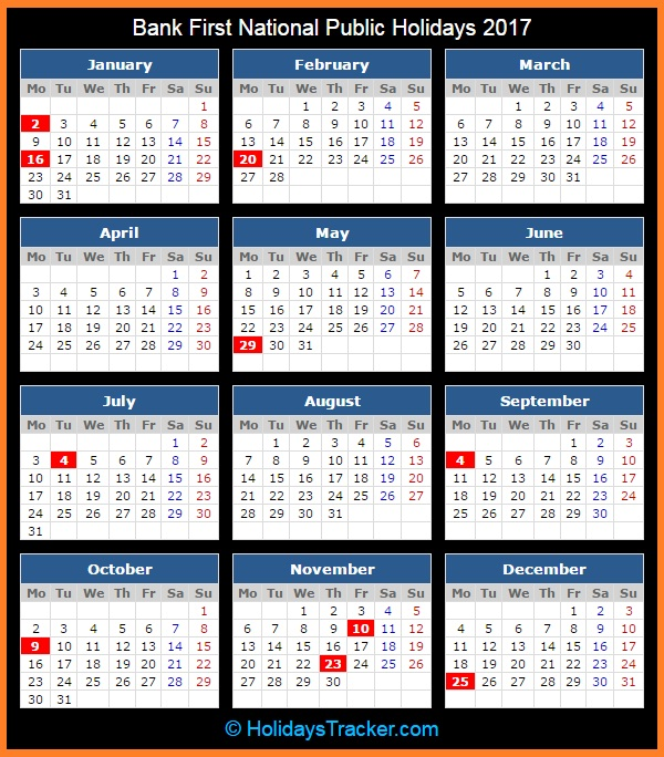 Bank First National Holidays 2017 | Holidays Tracker