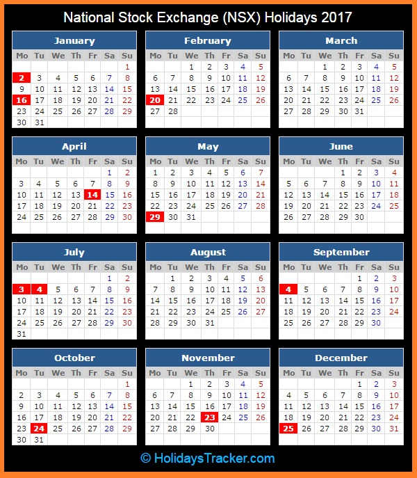 National Stock Exchange NSX Holidays Calendar 2017