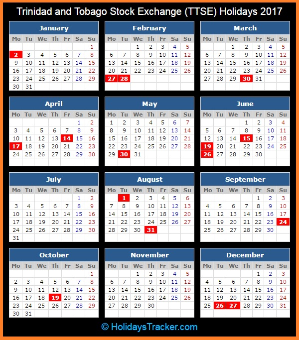 Calendar Trinidad : Trinidad and tobago stock exchange ttse holidays
