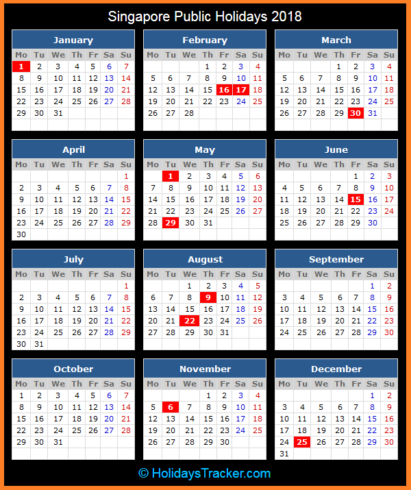 singapore public holiday calendar for 2018