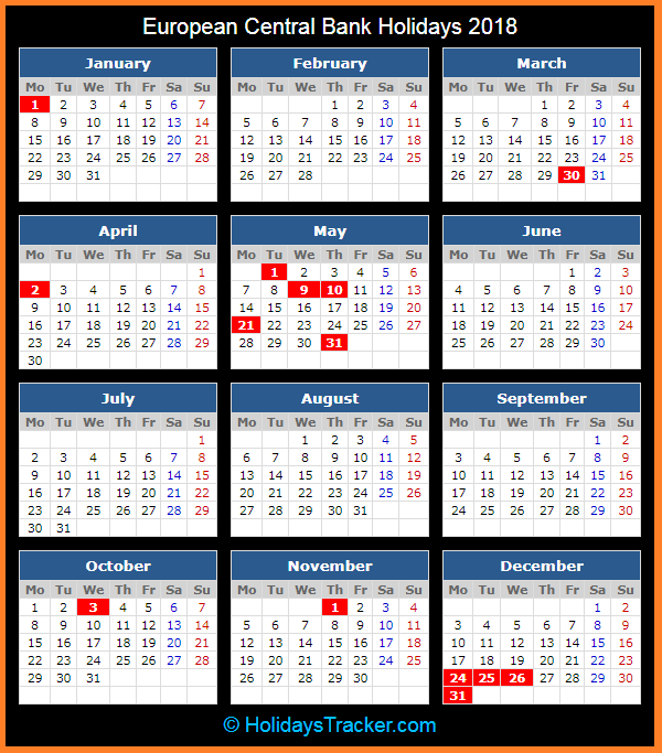 European Central Bank Holidays 2018 Holidays Tracker