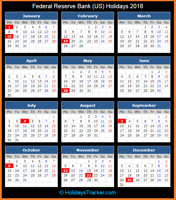 federal reserve bank us holidays calendar 2018