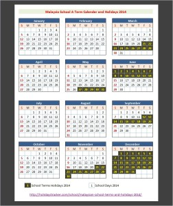 Malaysia School A Term Calender and Holidays 2014