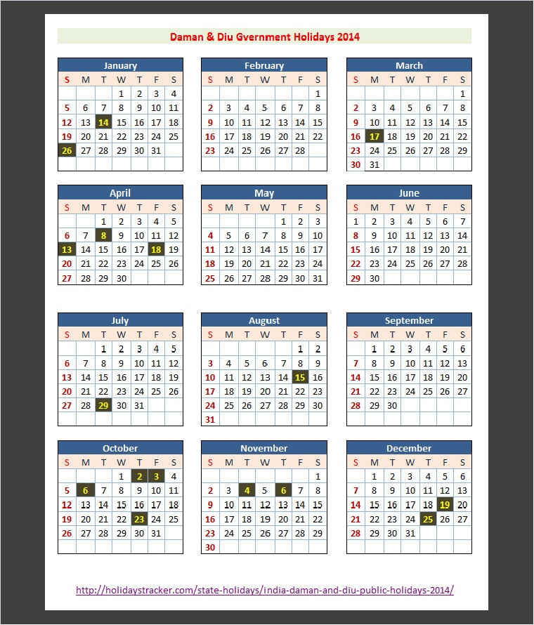 Daman and Diu Public Holidays 2014 Calendar