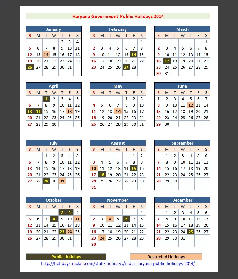 Rajasthan Calendar June : Haryana india public holidays tracker