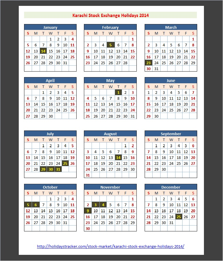 Karachi Stock Exchange Holidays Calendar 2014