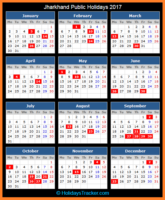 Jharkhand (India) Public Holidays 2017 – Holidays Tracker