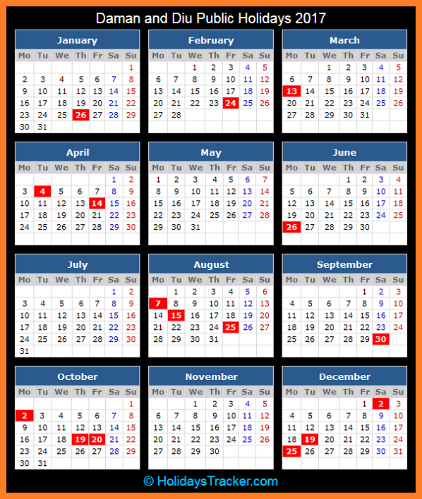 Daman and Diu Public Holidays Calendar 2017