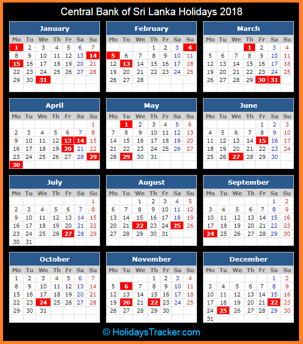 central bank of sri lanka holidays calendar 2018