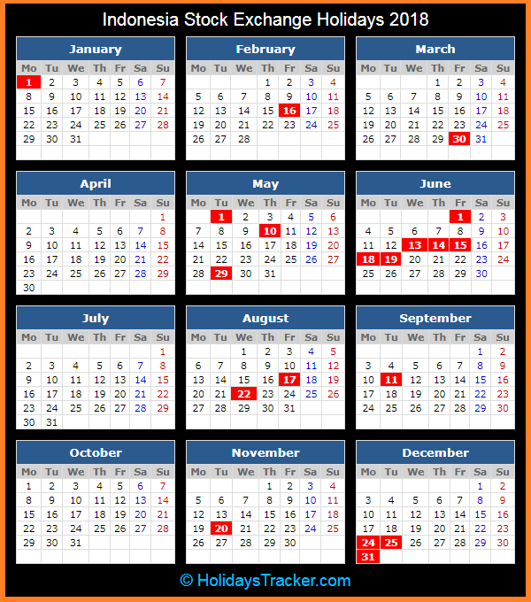 indonesia stock exchange idx holidays calendar 2018