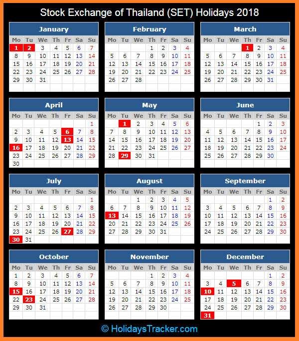 stock exchange of thailand set holidays calendar 2018